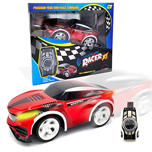 MukikiM Voice N' Go Racer Xt - Red. Voice Controlled Race Car (Customizable) & Watch Controller. 5 Speed (Turbo) + 12 Color LEDs Options + Engine Sound! 2.4Ghz & USB Rechargeable