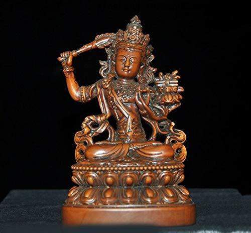 - SIYAO Wedding Decoration Old Tibetan Buddhism Boxwood Wood Carved Hold Sword Tara Kwan-Yin Buddha Statue
