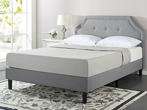 Zinus Lyon Upholstered Button Tufted Platform Bed with Wooden Slat Support, Queen Lyon One Frame