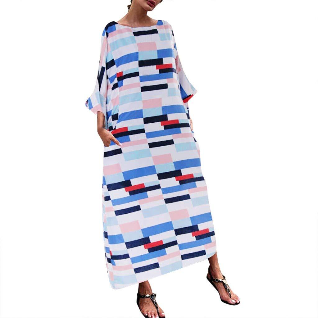 Wenini Boho Maxi Dress for Women Fashion 3/4 Sleeve O-Neck Print Plus Size Boho Loose Maxi Dress S-5XL