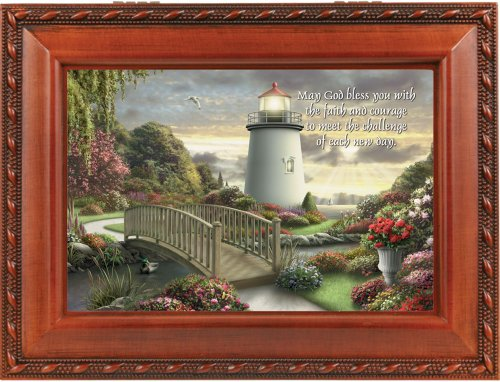 Cottage Garden Faith & Courage Woodgrain Inspirational Traditional Music Box Plays How Great Thou Art