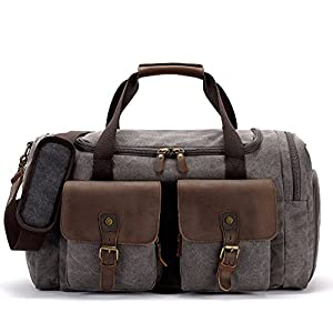BLUBOON Canvas Duffle Bag Leather Overnight Bag for Men Weekend Travel Duffel Womens Carry on Luggage Tote Bag with Shoe Compartment (Grey)