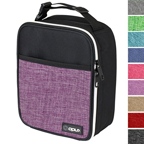 OPUX Premium Thermal Insulated Mini Lunch Bag | School Lunch Box For Girls, Kids, Adult Women | Soft Leakproof Liner | Compact Lunch Pail for Office (Heather Purple)