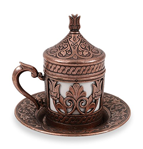 Traditional Design Brass Cast Turkish Coffee Cup, Espresso Cup, Tea Cup with Saucer (CC-207)