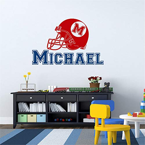 al Wall Stickers Art Decor Beautiful Personalized Name Initial Name American Football Nursery Room ()