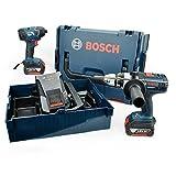 Bosch Professional GSB 18 VE-2-LI Cordless Combi Drill + GDR 18 V-LI Cordless Impact Driver with Two 18 V 4.0 Ah Lithium-Ion Batteries - L-Boxx