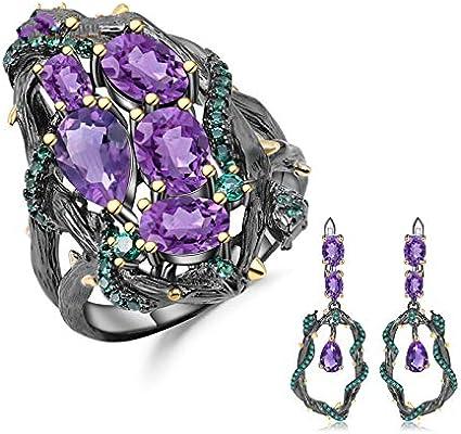 AdronQ® - Juego de joyas vintage de plata de ley 925 de 7,58 ct con juego de pendientes hechos a mano con piedras de amatista natural para mujer