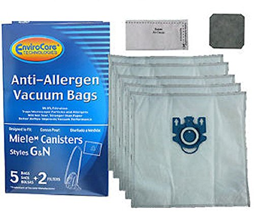 Miele Canister Allergen Plastic Collar Style G&N Paper Bags 5PK # C204