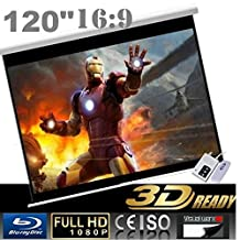 """CanadianView 120"""" 16:9 Electric Auto Projector Motorized Projection Screen 16:9 Ratio Remote control Home Competition"""