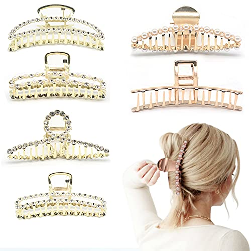LEIGINAL Large Metal Hair Clips, Big Hair Claw Clips, Cute Hair Clip with Pearls and Rhinestones, Hair Accessories for Women with Thick or Thin Hair (6PCS, Gold + Rose Gold)
