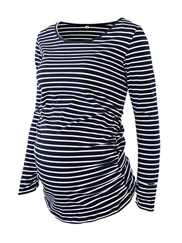 Women's Maternity Ruched Tunic Tops Mama Clothes Long Sleeve Scoop Neck Pregnancy T-shirt Navy White Stripe XL