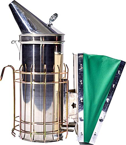 Improved Large Pro Stainless Steel Bee Hive Smoker with Heat Shield and Green Bellow. Designed with Heavy Duty, Double Pull Ring, Thick Airflow Plate and Smoker Tube for Better Efficiency.
