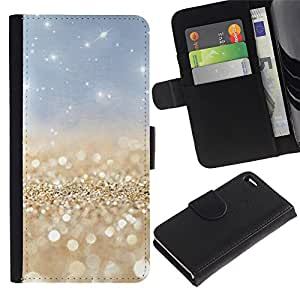 Billetera de Cuero Caso Titular de la tarjeta Carcasa Funda para Apple Iphone 4 / 4S / Pearls Gold Sparkly Blue Sky White / STRONG