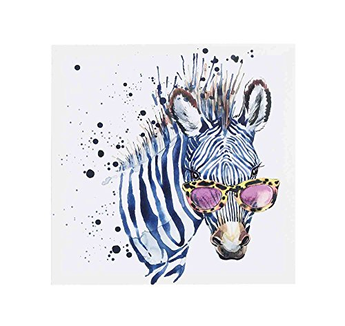 Benzara Contemporary Zebra with Sunglasses Print on Canvas, Multicolor Home Accent