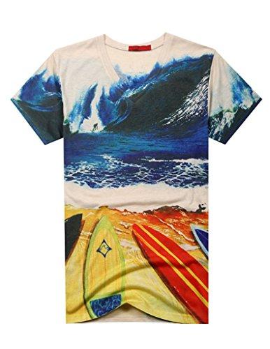 VENTELAN Men's Cotton Blend Short Sleeve Embellished Korean Fashion Casual Shirt