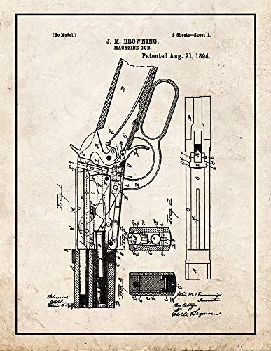 (Winchester 1894 Lever Action Rifle Patent Print Old Look with Border (8