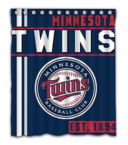 Minnesota Baseball Team Emblem Waterproof Shower Curtain Blue Design Polyester for Bathroom Decoration 60 x 72 Inches with 12-Pack Plastic - Minnesota Twins Decorations