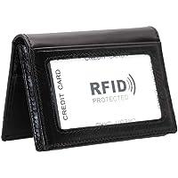 Hibate Slim Leather Credit Card Holder ID Case Wallet RFID Blocking for Men Women - Black