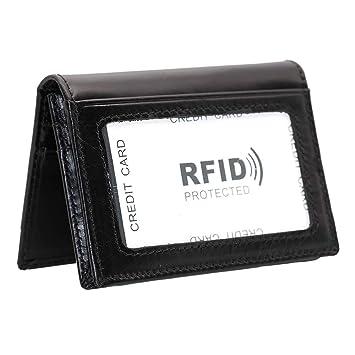 Hibate Slim Leather Credit Card Holder Case Wallet RFID Blocking for Men  Women (Black) ea6615b789