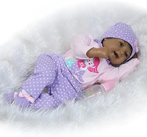 iCradle Handmade Vinyl Black Indian Soft Silicone Reborn Doll Realistic Looking Baby Girl Newborn Dolls Toddler 22 Inch 55cm