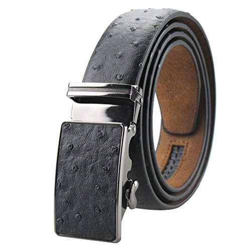 Men's Dress Leather Belt Black Ostrich Embossed with Ratchet Automatic Buckle 49