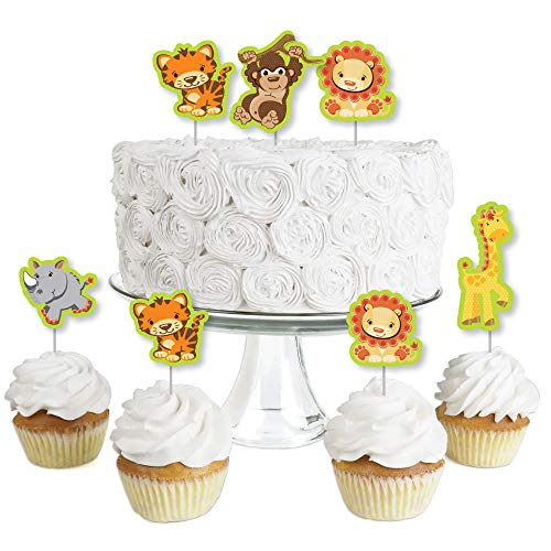 Funfari - Fun Safari Jungle - Dessert Cupcake Toppers - Baby Shower or Birthday Party Clear Treat Picks - Set of 24