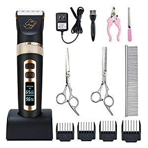 Otstar Professional Dog Grooming kit, 3 Speed Rechargeable Cordless Dog Clippers Low Noise Low Vibration, LED Screen Indicate Power/Oil/Cleaning 25