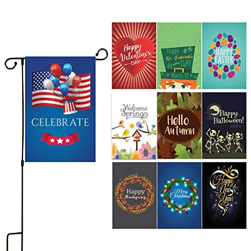 """Seasonal Yard Garden Flag Set - Double Sided 12"""" x 18"""" Front Porch Seasonal Flags For House Yard - Top Themes, Christmas, Halloween, Thanksgiving & More - Outdoor Weatherproof & USA Designed - 10 Pack"""