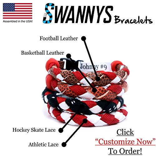 Swannys Custom Sports Bracelet Customizeable Hockey, Football, Basketball, Baseball - Bracelet Baseball Leather