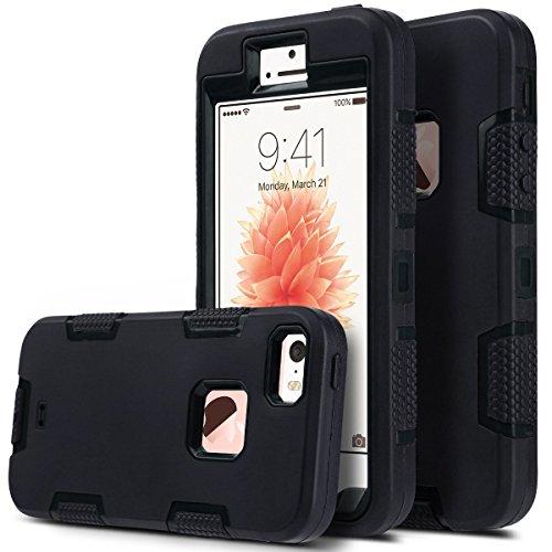 ULAK iPhone 5 iphone 5S iphone SE Carcasa Funda Case 3en1 [amortiguadora] de goma de silicona Combo hñbrida para el iphone 5S iPhone 5 iphone SE (Negro) Negro