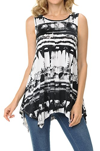 Shamaim Womens Sleeveless Flattering Comfy Tunic Loose Fit Flowy Top Print 24 2X-Large (Print Screen Print Tunic)