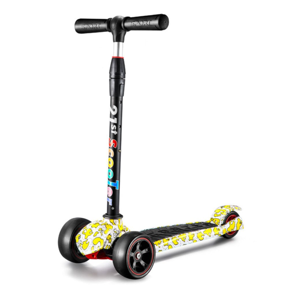 Gelb QXMEI Kinder Roller Vierrad Höhe Verstellbarer Kinder Gummirad Graffitis Roller Kinder Gleitstein Spielzeug