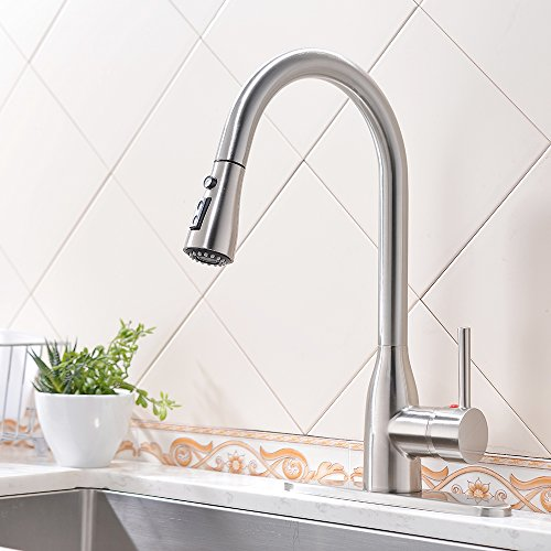 VESLA HOME Modern Commercial Stainless Steel Single Lever Pause Button Pull Out Sprayer Kitchen Faucets, Brushed Nickel Kitchen Sink Faucet With Deck Plate