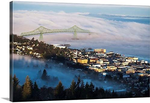 GREATBIGCANVAS Fog hovers Over The Columbia River - the best canvas wall art for the money