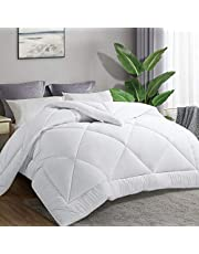 HEPERON Queen Quilted Goose Down Alternative Comforter All Season Luxury Duvet Insert with Corner Tabs-Duvet Insert or Stand-Alone Comforter,Box Stitched, Protects Against Dust Mites and Allergens (WHITE, QUEEN)