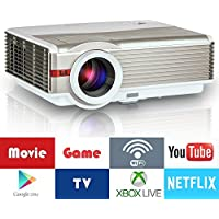 Wireless LCD Home Theater Projector - WiFi Miracast Airplay (LED 50000 Hours) Multimedia 1080P for iOS Andriod Mac Movie Video Games including HDMI, USB, VGA, TV Port, Built-in Subwoofer, Keystone