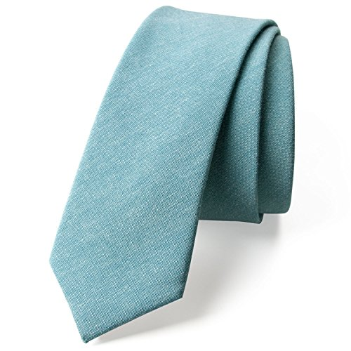 - Spring Notion Men's Solid Color Chambray Cotton Skinny Tie, Sea Green