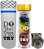 NALU INSPIRE -Do or Do Not There Is No Try- Star Wars - The Perfect Gift: Tea Infuser Tumbler, Fruit Infusion Glass Bottle & Coffee Brewer with Filter 15.8oz
