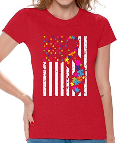 Awkward Styles Autism Shirts for Women Autism Awareness American Flag Autism Ribbon Red L