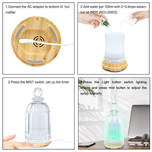 MADETEC Aromatherapy Glass Oil Diffuser Ultrasonic Wood Grain Essential Oil Diffuser Humidifiers with 7 Changing Color Led Light,Auto Shut-off for Home Bedroom Office (120ml)