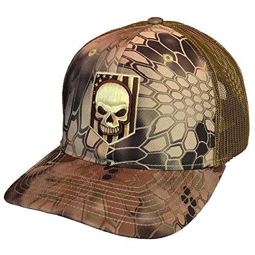 (7.62 Design Kryptek Embroidered Skull Flag Highland Trucker Hat)