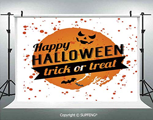 Photography Background Happy Halloween Trick or Treat Watercolor Stains Drops Pumpkin Face Bats 3D Backdrops for Photography Backdrop Photo Background Studio Prop