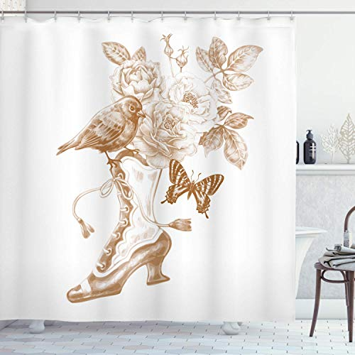 lovedomi Victorian Shower Curtain with Rose Butterfly and Bird Nostalgic Boots UK Trend high Society Footwear Art 71x71inch Washable Waterproof Fabric Including 12 Plastic Hooks (Best Cat Repellent Uk)