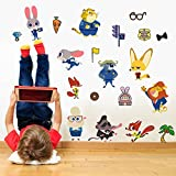 Fange DIY Removable New Zootopia Smart lovely rabbit Judy Hopps And Fox Nick Vinyl Waterproof Wall Stickers Kids Room Wall Decals, Nursery, Baby, Boys & Girls Bedroom 27.5''x19.6''