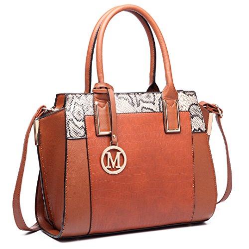 6623 PU Designer Women Bag Classic Brown Tote Shoulder Large Leather Winged Miss Lulu Handbag wCxqpf