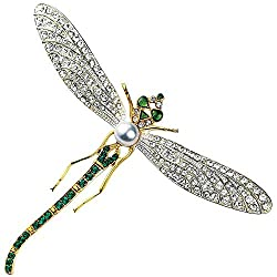 Faux Diamonds Emeralds & Pearls Dragonfly Brooch