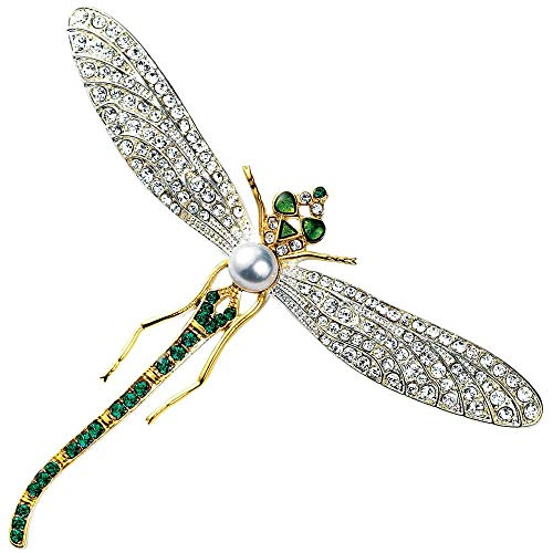 MMA Faux Diamond Brooch with Faux Emeralds & Pearl Costume Jewelry Dragonfly Brooch