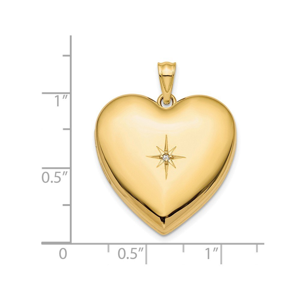 14k Yellow Gold 24mm with Dia. Star Design Ash Holder Heart Locket 24 mm