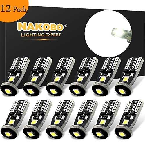 NAKOBO 194 T10 LED Bulb Non-polarity 168 2825 W5W T10 12961 Car Interior Extremely Bright 3030 Chipset, for License Plate Dome Map Door Courtesy Park Lights 6000K Pure White (12 pack)