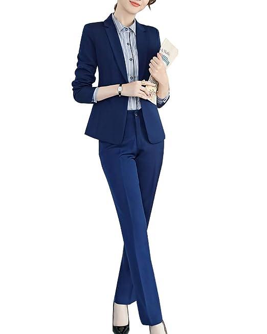 01287700771d Completo Donne Slim Fit Elegante Ufficio Business Giacca Tuta Blazer Gonna  E Top Blu 2 S